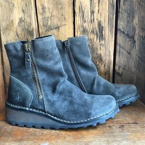 fly London mong boot wedge grey suede bootie 36